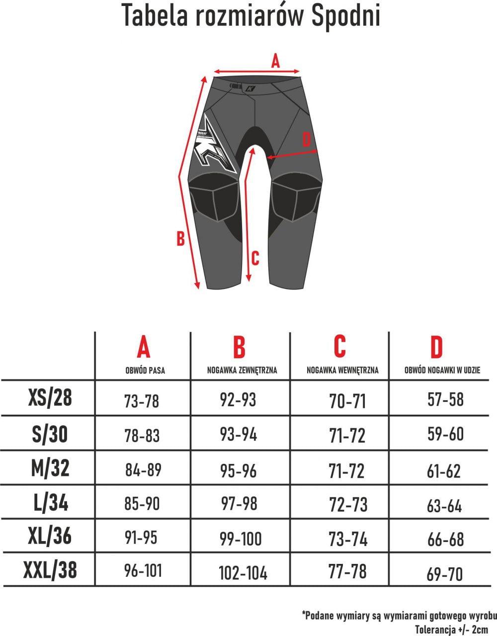 tabela rozmiarów spodni motocyklowych adv